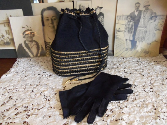 1950's Purse-Drawstring Beaded Handbag -Hiawatha Tag