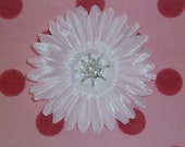 Silk Flower - White - Silk Bead and Rhinestone Centered - Single