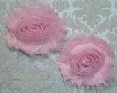 DISCONTINUED - Chiffon Rosette Flowers - Shabby Modern Style - Light Pink - Set of Two