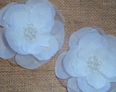 Silk and Organza Flowers - White Bead Centered - Set of Two