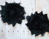 Chiffon Rosette Flowers - Shabby Vintage Style - Black - Set of Two