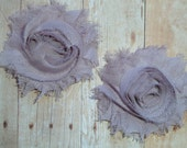 Chiffon Rosette Flowers - Shabby Vintage Style - Pewter - Set of Two