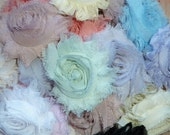 Chiffon Rosette Flowers - Shabby Vintage Style - Pre-Packaged Set of SIX