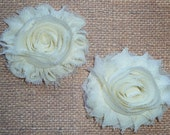 Chiffon Rosette Flowers - Shabby Vintage Style - Butter Yellow - Set of TWO