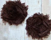 Chiffon Rosette Flowers - Shabby Vintage Style - Chocolate Brown - Set of TWO