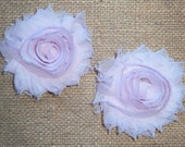 Chiffon Rosette Flowers - Shabby Vintage Style - Light Pink - Set of TWO