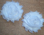 Chiffon Rosette Flowers - Shabby Vintage Style - White - Set of TWO