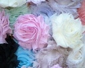 Chiffon Rosette Flowers - New PETITE SIZE Shabby Vintage Style - Pre-Package Set of TWELVE
