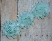 Chiffon Rosette Flowers - New PETITE Size Shabby Vintage Style - MINT GREEN - Set of Three