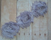 Chiffon Rosette Flowers - New PETITE SIZE Shabby Vintage Style - PEWTER - Set of Three