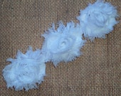 Chiffon Rosette Flowers - New PETITE SIZE Shabby Vintage Style - WHITE - Set of Three