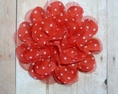 Chiffon and Tulle Mesh Puff Flower - Red with White Polka Dots - Single
