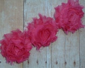 Chiffon Rosette Flowers - New PETITE SIZE Shabby Vintage Style -Hot Pink - Set of THREE