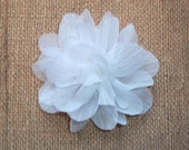 Chiffon Flower - Crinkle Voile Flower - White - Single