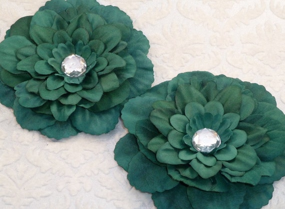 CLEARANCE/DISCONTINUED - Silk Flowers - Rhinestone Centered - Hunter Green - Zinnia - Set of Two