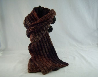 Knit Scarf - Black, Brown, and Rust Color