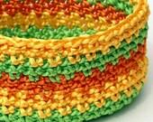Crochet Basket  in Green Yellow and Orange Satin Cord