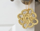 FREE SHIPPING Gold Crochet Ornament in Satin Cord - lissabeecreations