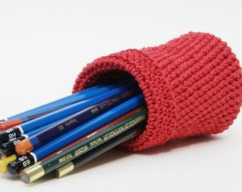 Crochet Pencil Holder in Red Hemp