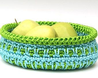 Crochet Basket in Aqua and Apple Green Satin Cord