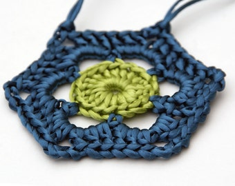 Crochet Pendant in Teal and Green Satin Cord 'Sonia'