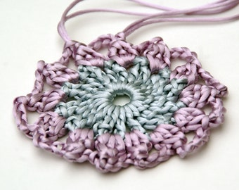 Crochet Pendant in Silver and Lavender Satin Cord 'Lauren'