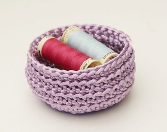 Crochet Basket, Lavender Satin Cord, Size Small
