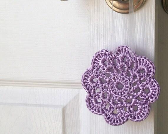 FREE SHIPPING Crochet Ornament in Lavender Satin Cord