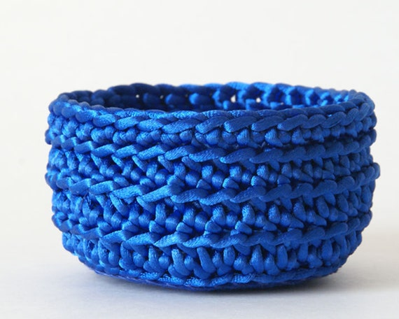 Small Basket, Crocheted Satin Cord in Royal Blue