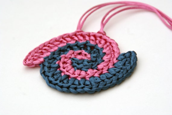 Crochet Pendant in Pink and Teal Satin Cord 'Debbie'