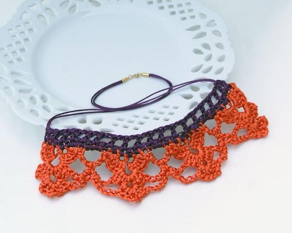 Crochet Necklace in Orange and Plum Satin Cord 'Rachel'