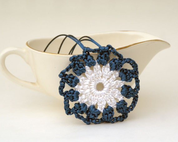 Crochet Pendant in Teal and White Satin Cord 'Lauren'