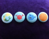 """Underwater sea creatures - Set of 1"""" buttons (Mermaid, Crab, Narwhal & Fish)"""