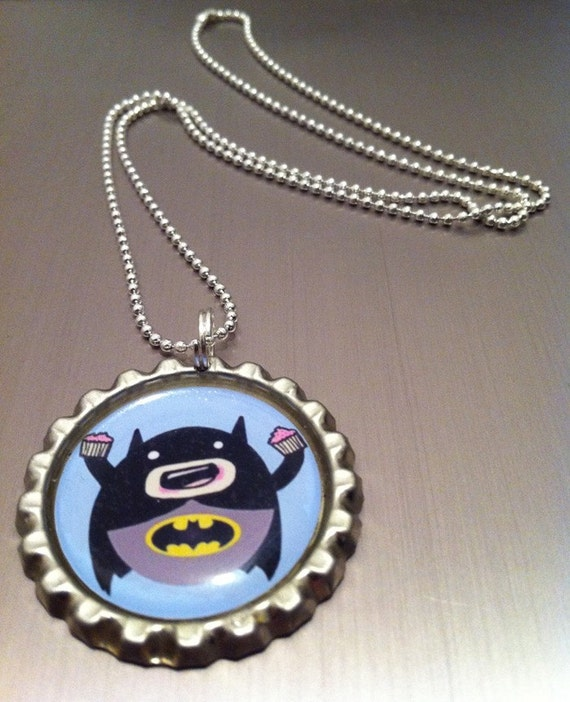 Cupcake eatin' Batman bottle cap necklace