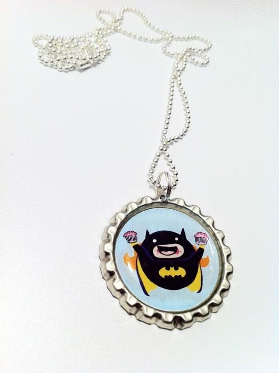 Cupcake Eatin' Batgirl bottle cap necklace