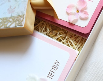 Pink & Gold Fairy Boxed Personalized Stationary Set