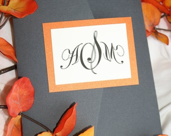Sophisticated Spring Grey and Orange Tri Fold Wedding Invitation