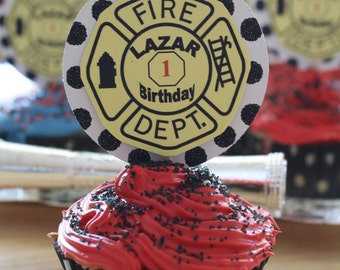 Black and White Polka-dot Fire Chief Yellow Cupcake Toppers