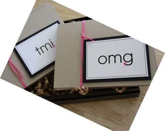 Hot Pink Accented Kraft Taupe and Black Boxed Notecard Set for Text SMS Addicts