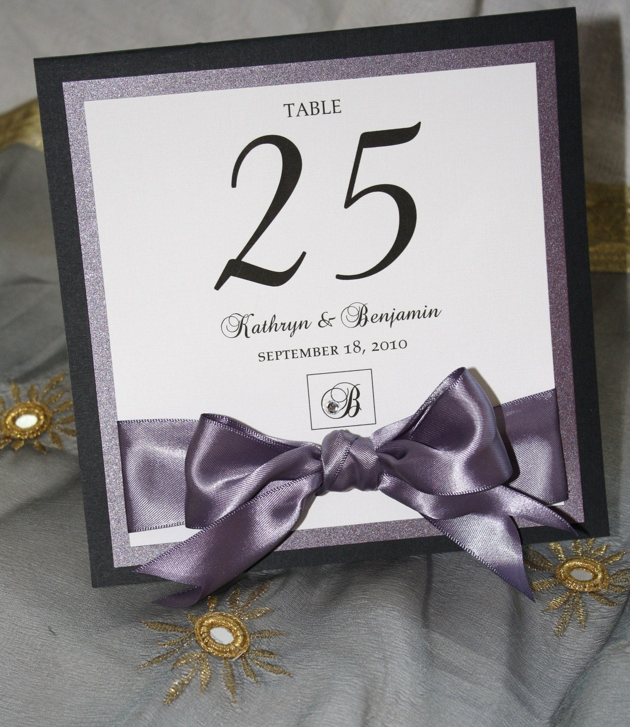 Elegant purple and black table numbers for Table numbers