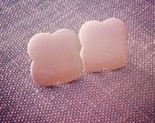 Cream Puff Clouds - Vintage Stud Earrings - Vintage Jewelry - Vintage Jewellery - Pastel Peach Pink Cupcake Metal Posts