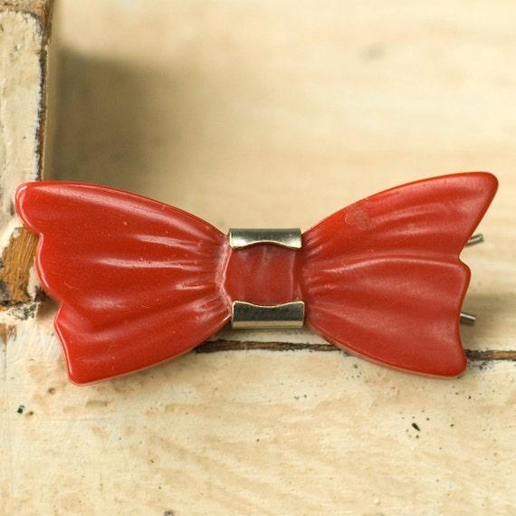 Vintage Bakelite Bow Hair Clip Barrette