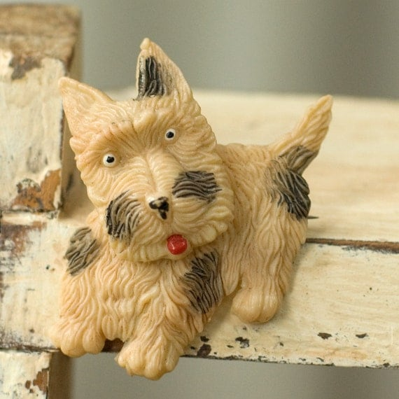 Vintage Plastic Scottie Dog Pin Swivel Head