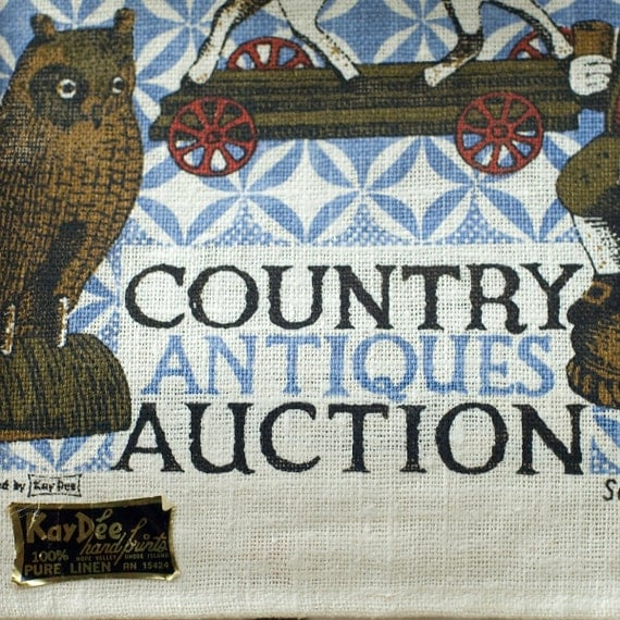 Kay Dee Country Antiques Auction Linen Towel Vintage
