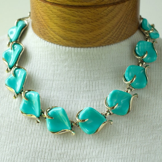 Blue Thermoplastic Necklace Vintage