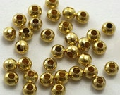 Spacer Beads, Round, Gold Plated-100 pcs.