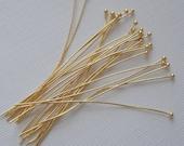 100pcs- Gold Plated Ball Headpins  2 inch 24ga.