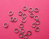 100pcs-Jump Rings, Gun Metal Plated Over Brass  Heavy Strong, OD-6mm, 18ga.