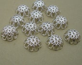 100pcs -Bright Silver Plated Bead Caps 12mm.