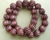50pcs-Spacer Beads Round Corrugated Antique Copper 6mm.